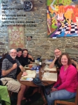 Mary and our Camino Family meal in Sarria