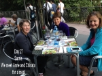 Ann, Chisato and us haring a meal in Sarria.